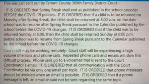 Tarrant County judges position on spring break access.